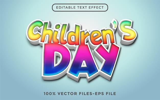 Weltkindertag 3d bearbeitbarer texteffekt premium-vektor