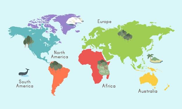 Weltkontinent-karten-standort-grafik-illustration