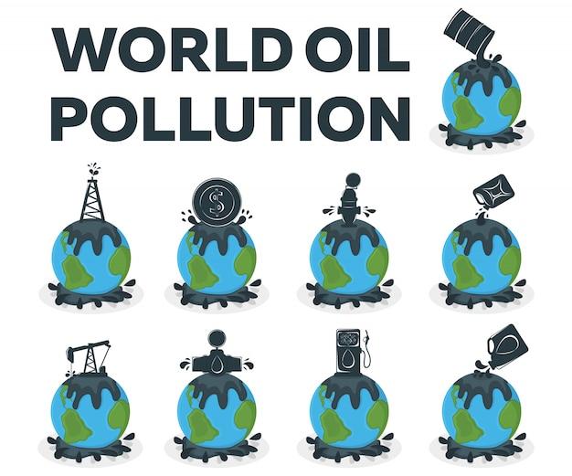Weltkonzept der ölverschmutzung. erdverschmutzung durch erdöl. katastrophenkarikaturillustration