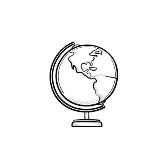 Weltkugel hand gezeichnete umriss-doodle-symbol. schulweltkugelvektorskizzenillustration für druck, netz, handy und infografiken lokalisiert auf weißem hintergrund.