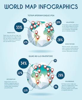 Weltkugel-infografik im polygonstil. statistik erde, berichtsdaten, aktie und analyst