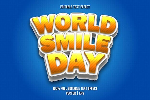 Weltlächeln tag editierbarer texteffekt comic-stil