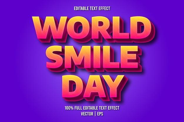 Weltlächeln tag editierbarer texteffekt retro-stil
