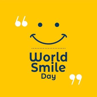 Weltlächeln tag gelber zitathintergrund