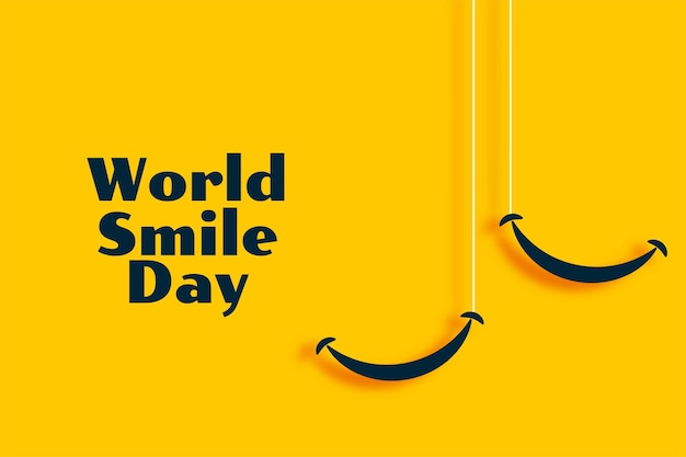 Weltlächeln tag gelbes banner