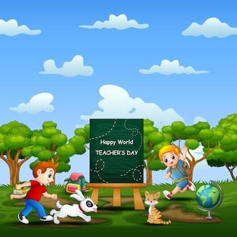Weltlehrertag mit glücklichen kindern, die auf natur laufen