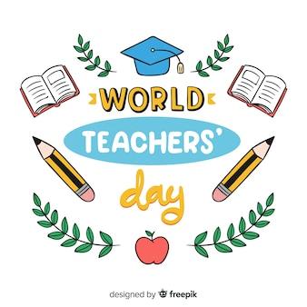 Weltlehrertag schriftzug hintergrund