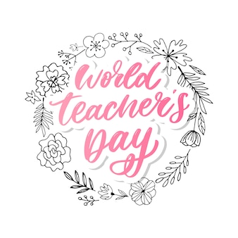 Weltlehrertag schriftzug