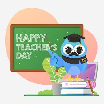 Weltlehrertagesillustration mit niedlicher blauer eule