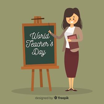 Weltlehrertaghintergrund mit weiblichem lehrer und tafel