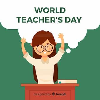 Weltlehrertaghintergrund mit weiblichem lehrer