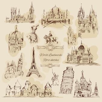 Weltmarkstein-skizzen-weinlese-ikonen eingestellt