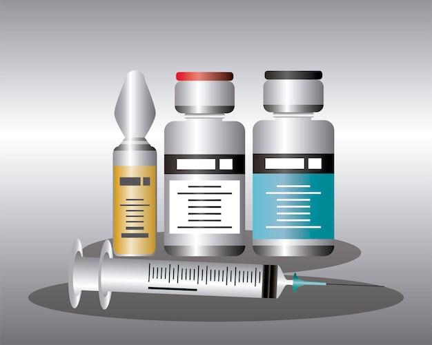Weltmedizinische flaschenspritze mit coronavirus-impfstoff, schutz gegen illustration