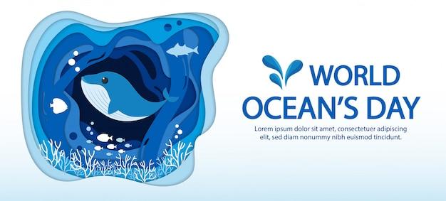 Weltmeertag infografik mit blauer meereswelle, fischen und platz für text