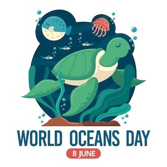 Weltmeertag mit schildkröte