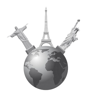 Weltmonumente über weißem hintergrund, vektorillustration