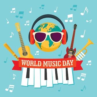 Weltmusik-tageskonzepthintergrund, flache art
