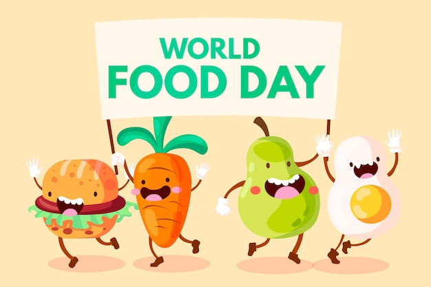 Weltnahrungsmittel-tag des flachen designs