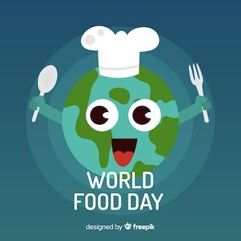 Weltnahrungsmitteltageshintergrund mit glücklicher erde