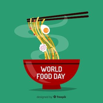 Weltnahrungsmitteltageshintergrund mit teigwaren
