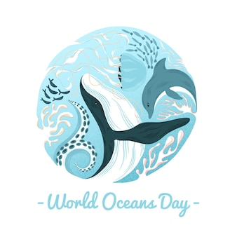 Weltozean-tageswal und delphin