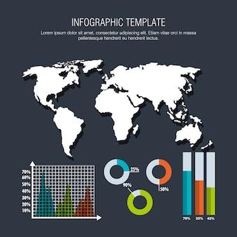Weltplanet mit geschäft infografik vorlage symbole
