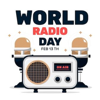 Weltradiotag des flachen designhintergrunds