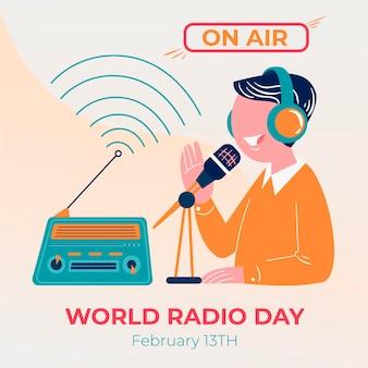Weltradiotag des flachen entwurfs