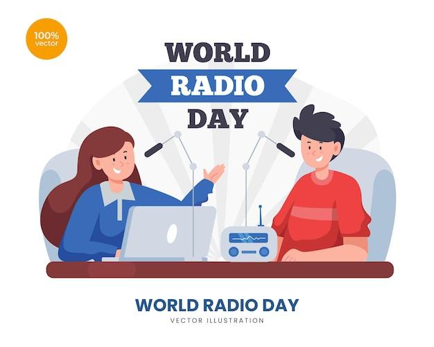 Weltradiotag konzeptillustration. das mädchen spricht mit publikum oder gaststar mann. rundfunk mit mikrofon.