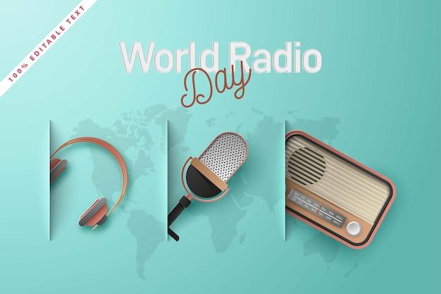 Weltradiotag. papierschnitt Premium Vektoren