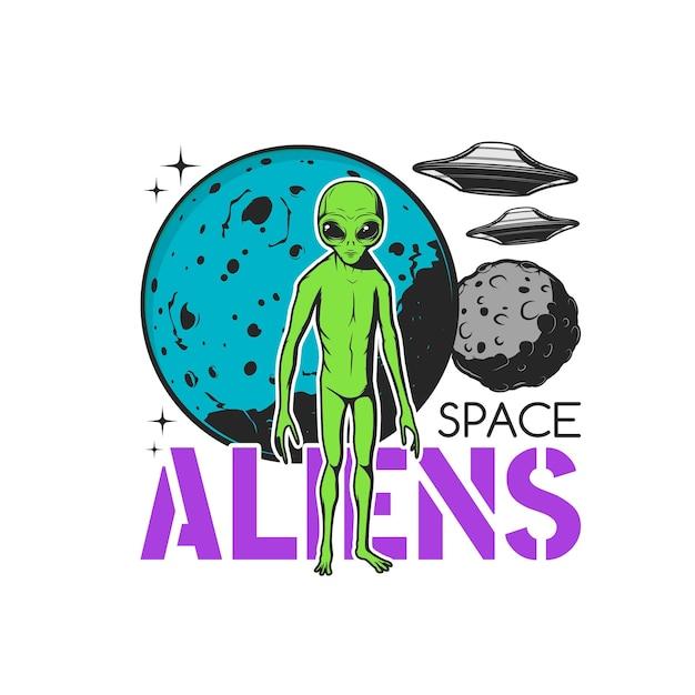 Weltraum-aliens-symbol, ufo-untertassen und grünes monster