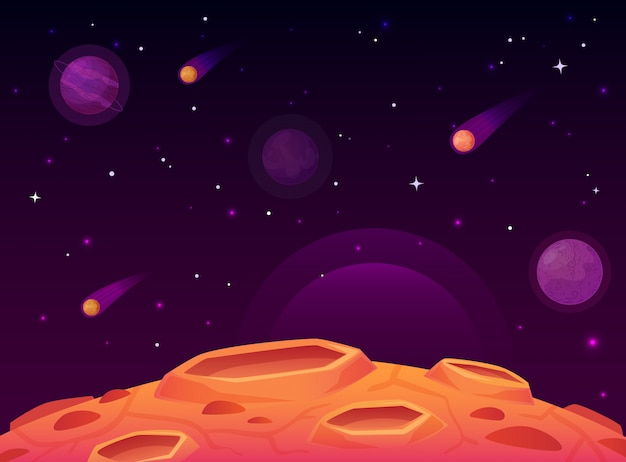 Weltraum-asteroidenoberfläche. planet mit krateroberfläche, raumplaneten gestalten landschaftlich und kometenkrater-karikaturillustration