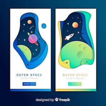 Weltraum-banner mit papiereffekt