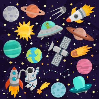Weltraum cartoon set vektor.