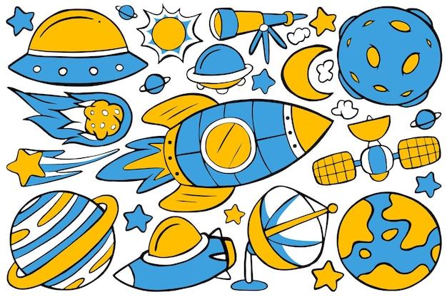 Weltraum-doodle im handgezeichneten design-stil