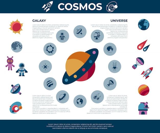 Weltraum-galaxie- und universumsikonen eingestellt