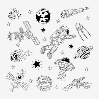 Weltraum handgezeichnetes gekritzel