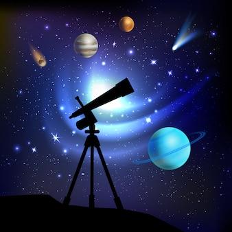 Weltraum-hintergrund mit teleskop