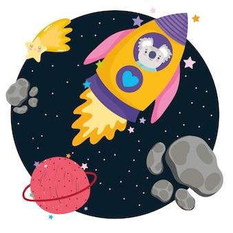 Weltraum-koala im raumschiff-planetenstern-abenteuer erforschen tierkarikaturillustration
