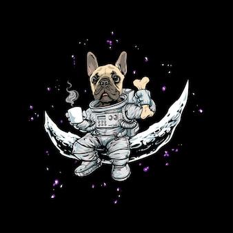 Weltraum mit handgezeichnetem hundeastronaut, der kaffee trinkt