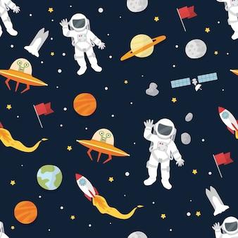 Weltraum, planeten und astronautenmuster-vektor-wallpaper