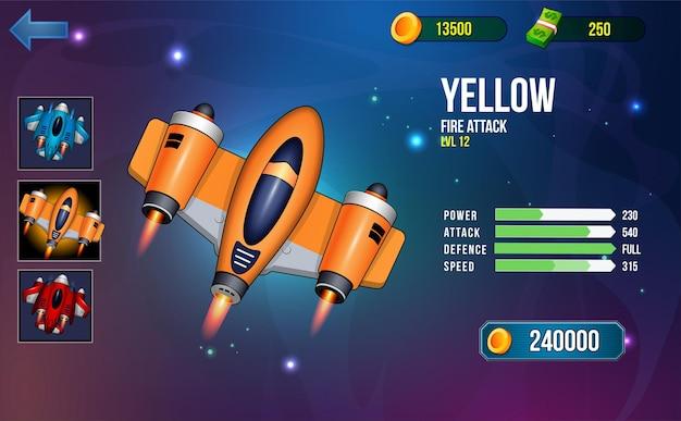 Weltraum-shooter-spiel-ui-menü-popups