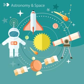 Weltraum- und astronomieikonen stellten mit teleskopkugel-raketenastronauten ein. konzept in der flachen designkarikaturart auf stilvollem hintergrund