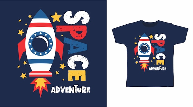 Weltraumabenteuertypografie für t-shirt-design