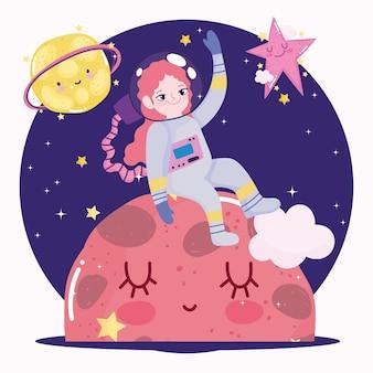 Weltraumastronautenmädchen, das auf planeten und sternen niedlichen karikatur sitzt