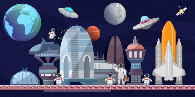 Weltraumbahnhof der zukünftigen karikaturillustration. raumschiffe, startrampe, astronauten, satelliten, planeten. weltraumforschung, kommerzielle raumflüge.