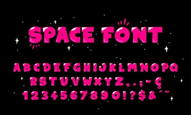 Weltraumcomig rosa alphabet