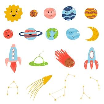 Weltraumelemente im flachen kindlichen stil der karikatur planetenraketen-meteoritenkonstellation