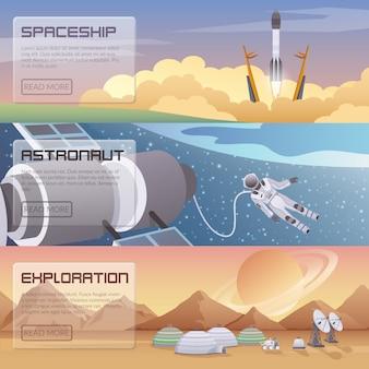 Weltraumentdeckung horizontale banner