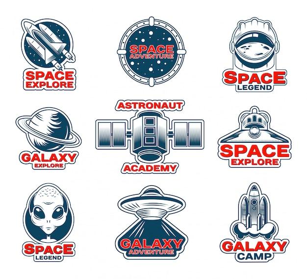 Weltraumerkundungs-patches gesetzt